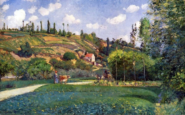 """A cowherd on the Route de Chou"", near Chimay, Belgium, by Camille Pissarro, 1874"