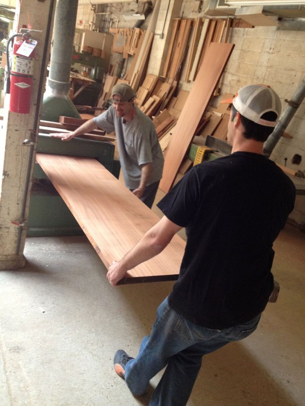 "Planing some 24""-wide sapele."