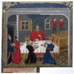 A meal, Facta et dicta memorabilia (BNF Fr. 43, fol. 1), mid-15th century