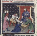 Castration of the Hebrews, Bible historiale (BNF Fr. 159, fol. 232v), 14th-15th century