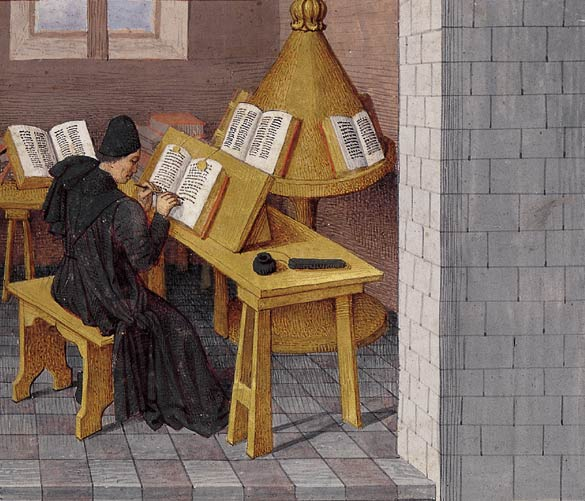 The author Titus Livius (or the translator Pierre Bersuire) at work, Ab urbe condita (BNF Fr. 273, fol. 7), c. 1475