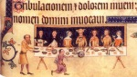 The Luttrell family at dinner from the Luttrell Psalter (British Library MS Add. 42130, fol. 208), c. 1325-1335