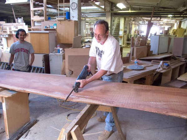 Daryl tries a recip saw on a Sipo plank.