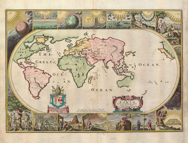 A 17th-century map of the world drawn by Joseph Moxon.
