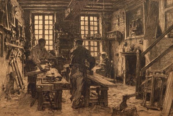 The Carpenter's Workshop by Leon Augustin Lhermitte (1887).