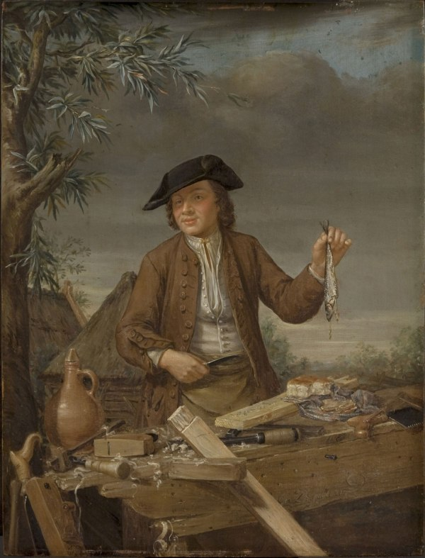 """Carpenter Taking His Meal"" by Gerrit Van Zegelaar, mid-18th c."
