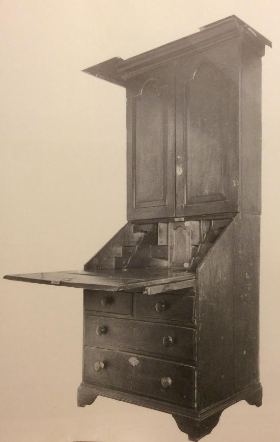 Queen Anne walnut secretary desk, 1747.