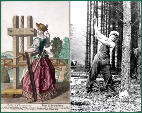 Left: by Martin Engelbrecht, 1721 (Wellcome Library). Right: Lumberjill in the Women's Timber Corps, Scotland, WWII.