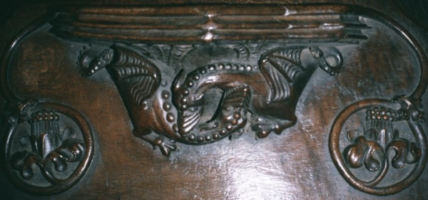 Wyvern (dragon) with foliage surrounds, early 16th c., Manchester Cathedral.
