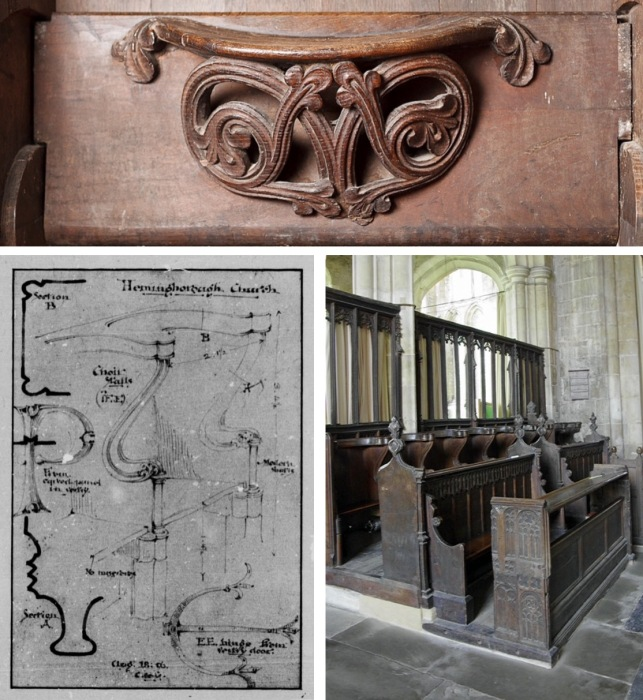 Top: Last and oldest misericord, dated 1200. Bottom left: measured drawing of choir stall. Bottom right: last remaining choir stalls (back row). St. Marybthe Virgin Church, Hemingbrough, England.