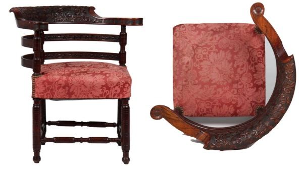 Rosewood chair, American, 1870-80.