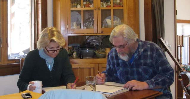 Michele and Don at work on Roubo.