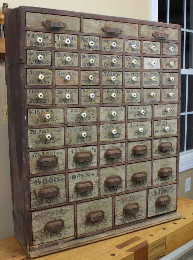 The story that the antique shop owner told was that it had once been in a  hardware store in Warsaw, NC. The cabinet was behind the cash register for  easy ... - Hardware Cabinet – 55 Drawers & 1 Mystery Lost Art Press