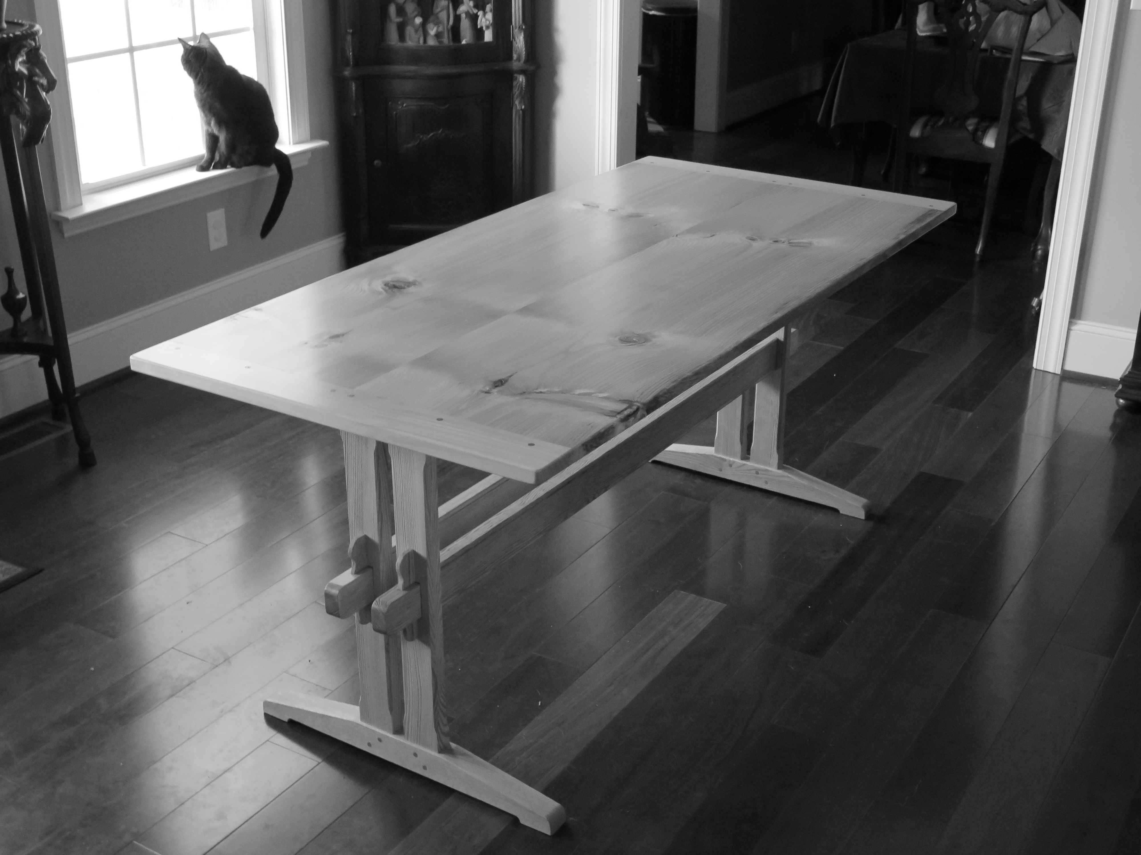 Lovely Used Trestle Tables #27 - After After Some Thought, I Came Up With A Trestle Table That Is Assembled  With Wedges. The Base Is Held Together With Four Wedged Tusk Tenons And The  Top ...