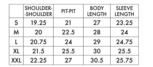 LAP Chore Coat Sizing