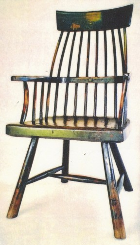 Welsh stick chair with aged paint and wood.